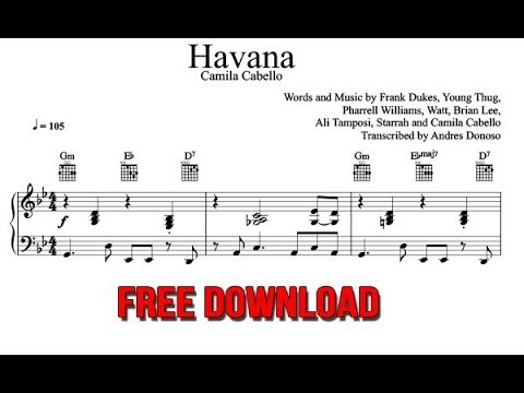 Havana Piano Sheet Music Camila Cabello FREE Download