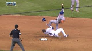 NYM@LAD Gm2: Dodgers tie game after hard Utley slide