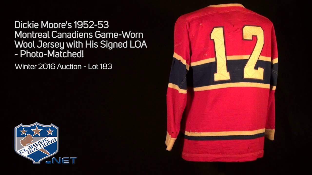 finest selection bdd0a 70f71 Dickie Moore's 1952-53 Montreal Canadiens Game-Worn Wool Jersey with His  Signed LOA - Photo-Matched!