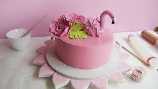 DIY Flamingo Cake with buttercream & gumpaste / Как сделать Торт с Фламинго