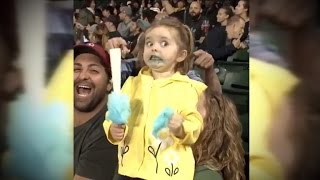 Adorable 3-Year-Old Girl Has Over-The-Top Reactions To Cotton Candy at MLB Game
