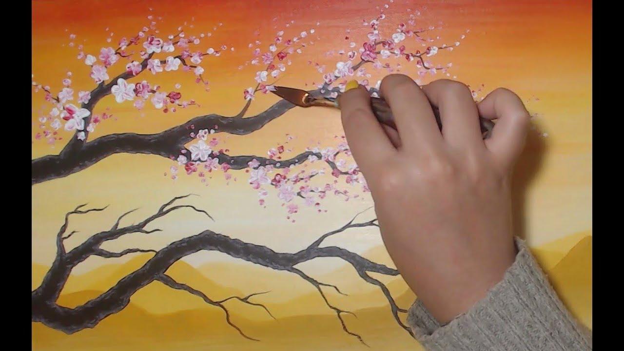 Cerisier en Relief au Couteau - Peinture Acrylique Facile - YouTube