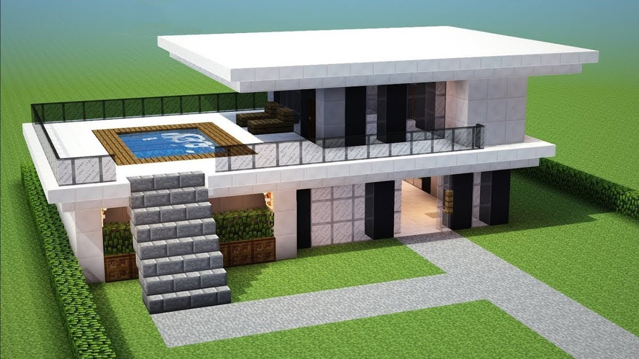 Minecraft How To Build A Small Modern House Tutorial 13 Easy Youtube