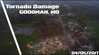 4K Drone Tornado Damage - Goodman, MO - 04/05/2017