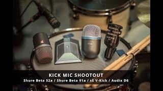 Kick Mic Shootout // Shure Beta 52a vs Shure Beta 91a vs sE V-Kick vs Audix D6  // No Talking