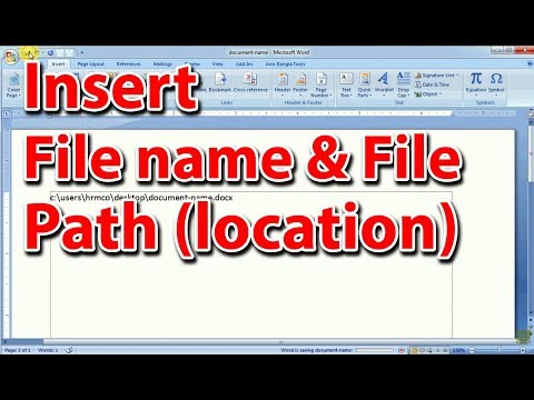 Insert File Name and File Location (Path) in MS Word