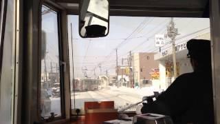 【車窓】函館市電(冬景色) 市民会館前〜駒場車庫前