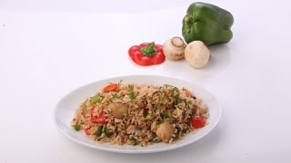 Mushroom and Capsicum Fried Rice..