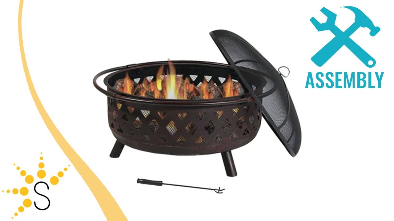 sunnydaze 36 inch large bronze crossweave fire pit with spark