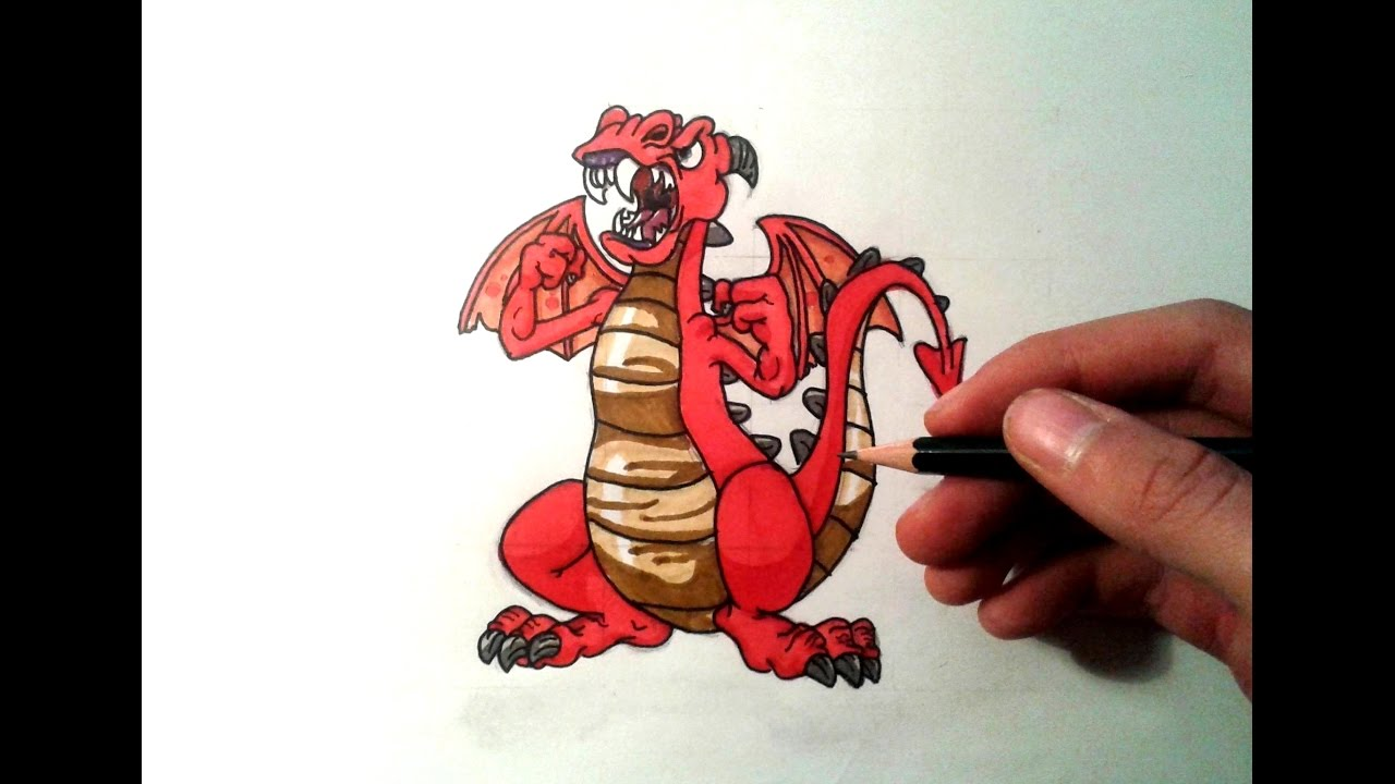 Dessiner un dragon facile cartoon4 youtube - Dessiner dragon ...