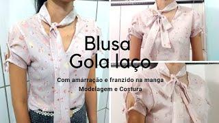 Blusa linda com gola laço com detalhe na manga com amarração – Modelagem e Costura