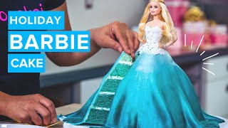 How To Make A HOLIDAY BARBIE CAKE! Ombre Vanilla Cake With Buttercream And A Flowing Fondant Gown!