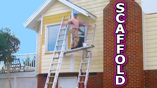 Small Scaffolding with Ladder Jacks and Aluminum Plank Paint House Repair Wood Rot Window Sill