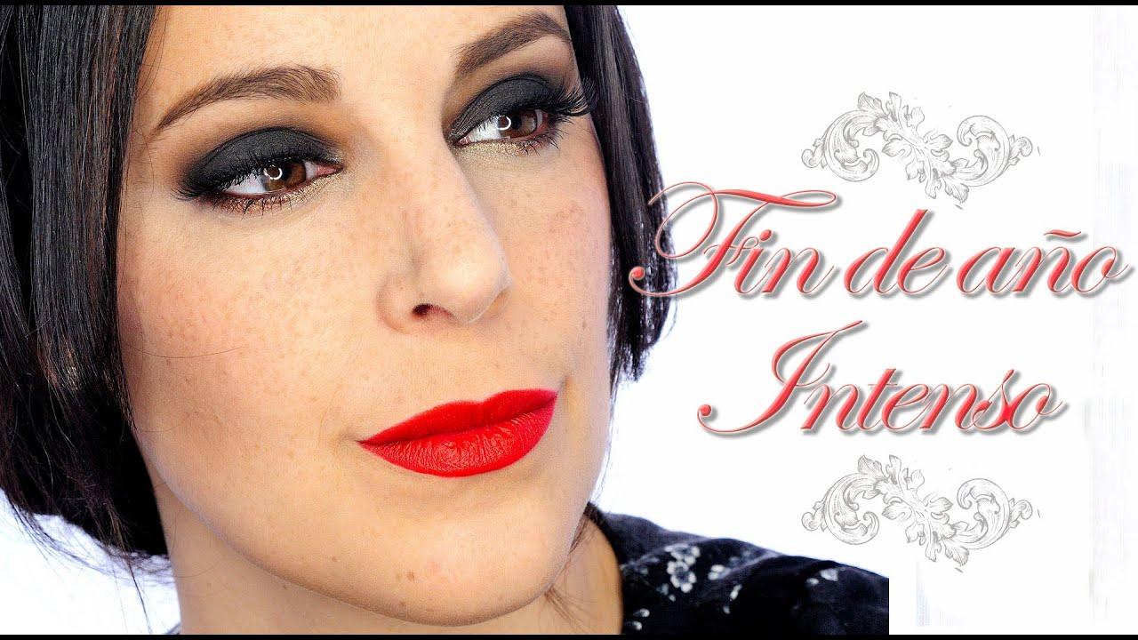 Tutorial Maquillaje Fin de año, ahumado negro y labios ...