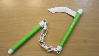 How to Make a Paper Ninja Weapon(KUSARI GAMA) - Easy Tutorials