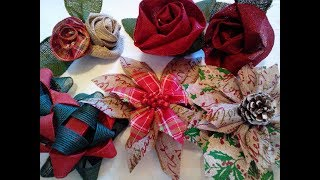 Christmas Bow/Flower making tutorial using Ribbon from Dollar tree,Walmart and Dollar General DIY