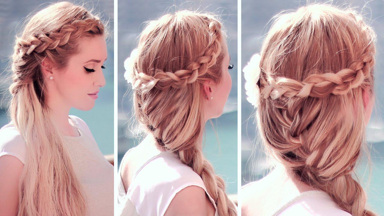 Boho chic hairstyles: dutch crown braid with a french mermaid hair ...