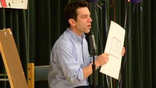 b j novak reads from the book with no pictures