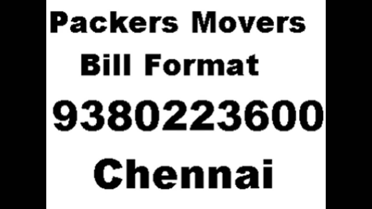 packers and movers bill free format relocation service bill
