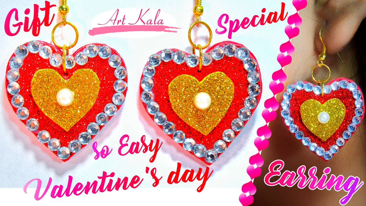 Valentine Day Special Heart Shape Earrings So Easy Valentine Day
