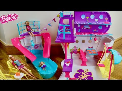 Barbie Cruise Ship Unboxing Set Up - Barbie Dolls Cruise Ship Tour Play Routine