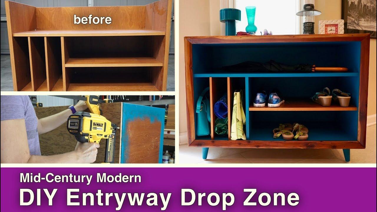 Mid century modern diy entryway drop zone