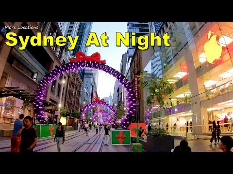 Sydney At Night - George Street Christmas Lights Walk | Sydney Australia