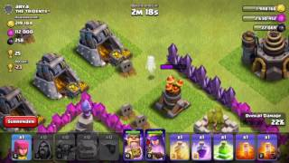 Clash of clans town hall 9 rushed base!!! GoWiPeArch attack