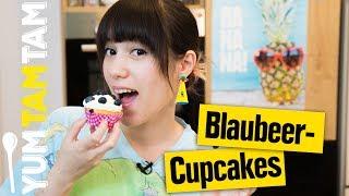 Blaubeer-Cupcakes // mit Frischkäse-Frosting // #yumtamtam