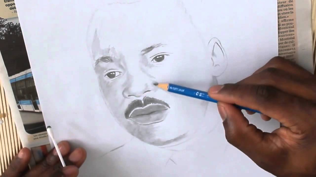 Martin Luther King Speed Drawing Portrait - YouTube