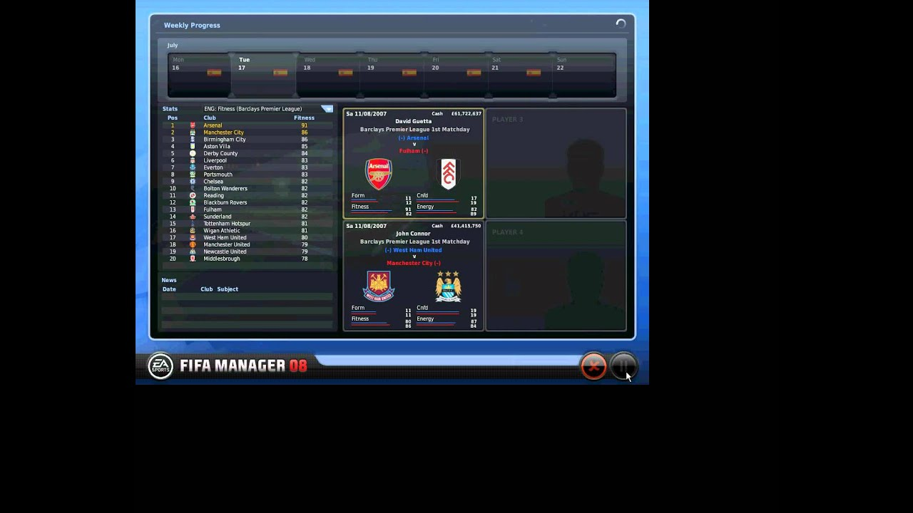 Fifa Manager 08 Gameplay