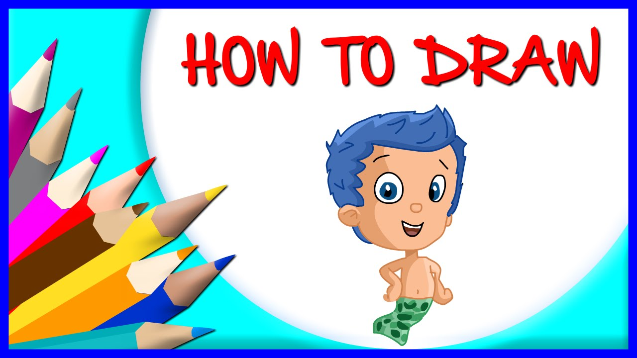 how to draw gil cartoon character from bubble guppies step by step youtube