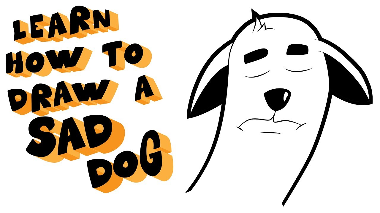 How to draw a sad dog head  Dog emotion drawing lesson step by step