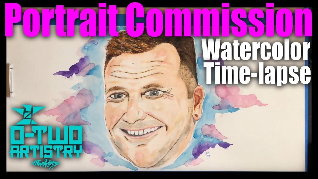 Portrait Commission 2 - Watercolor Time-Lapse by Kris Collins