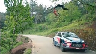 Duell in Portugal: Rallye-Auto vs Mountainbike