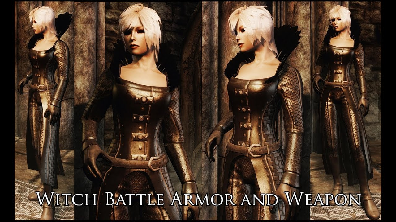 TES V Skyrim Witch Battle Armor And Weapon By
