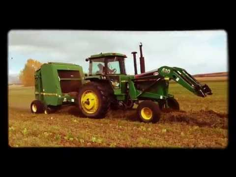 Bob Klompien Speed Baling in Gallating Gateway Montana - John Deere 4440 Tractor & 566 Baler