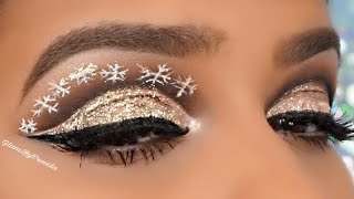 Gold Glitter Cut crease with Snow Flakes |GlamByPenela