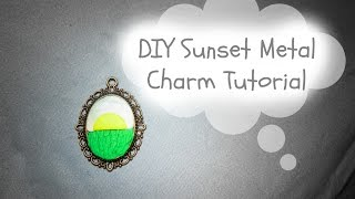 DIY Sunset Landscape Metal Charm | Polymer Clay Tutorial