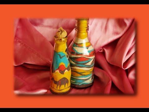 Цветной песок своими руками! DIY Декоративная бутылка! Поделки своими руками.