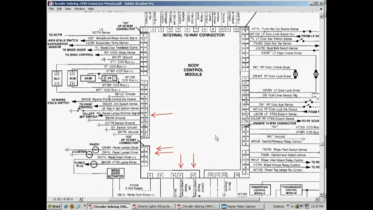 Chrysler Sebring Convertible 1999 DASH LIGHTS (bad BCM