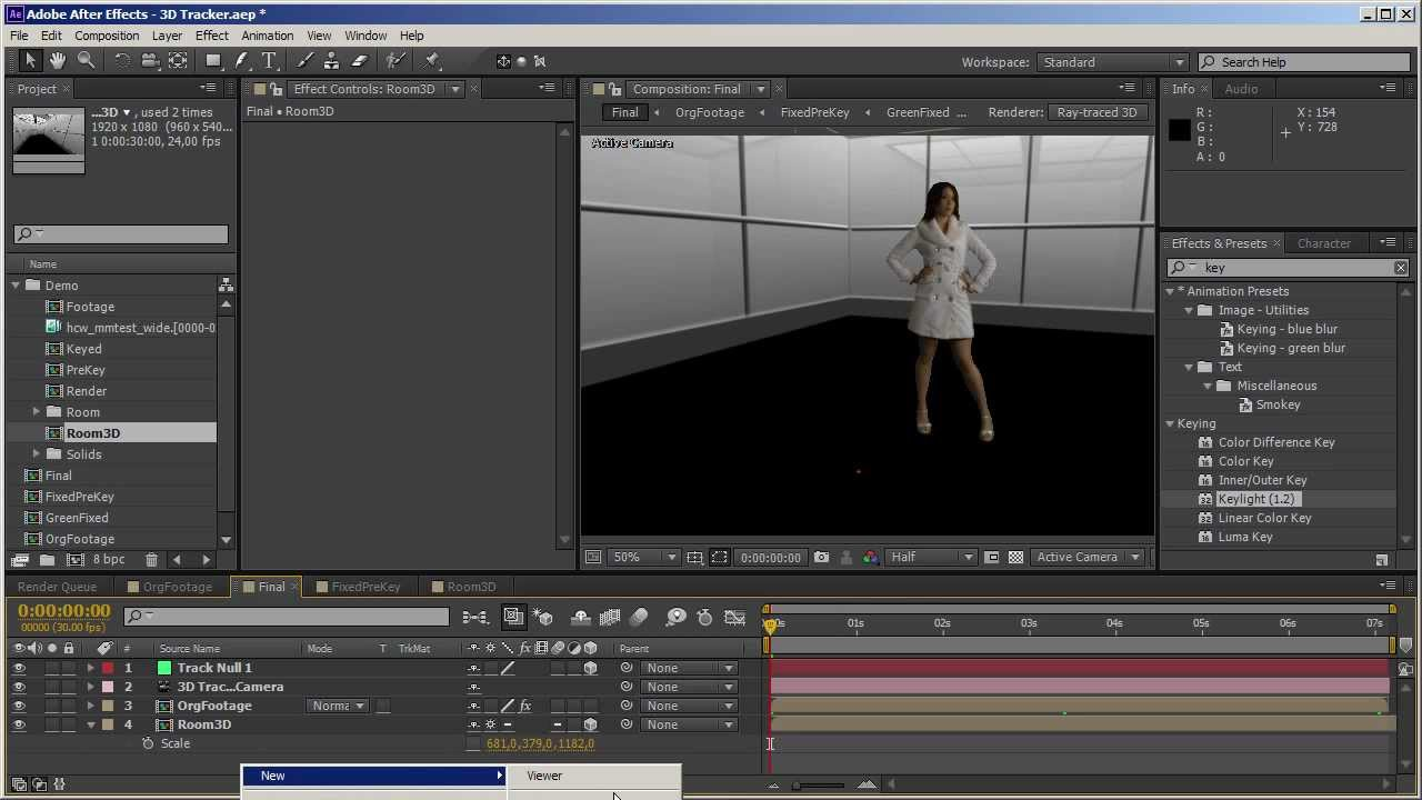 After effects cs6 3d camera tracking youtube for Habitacion 3d after effects