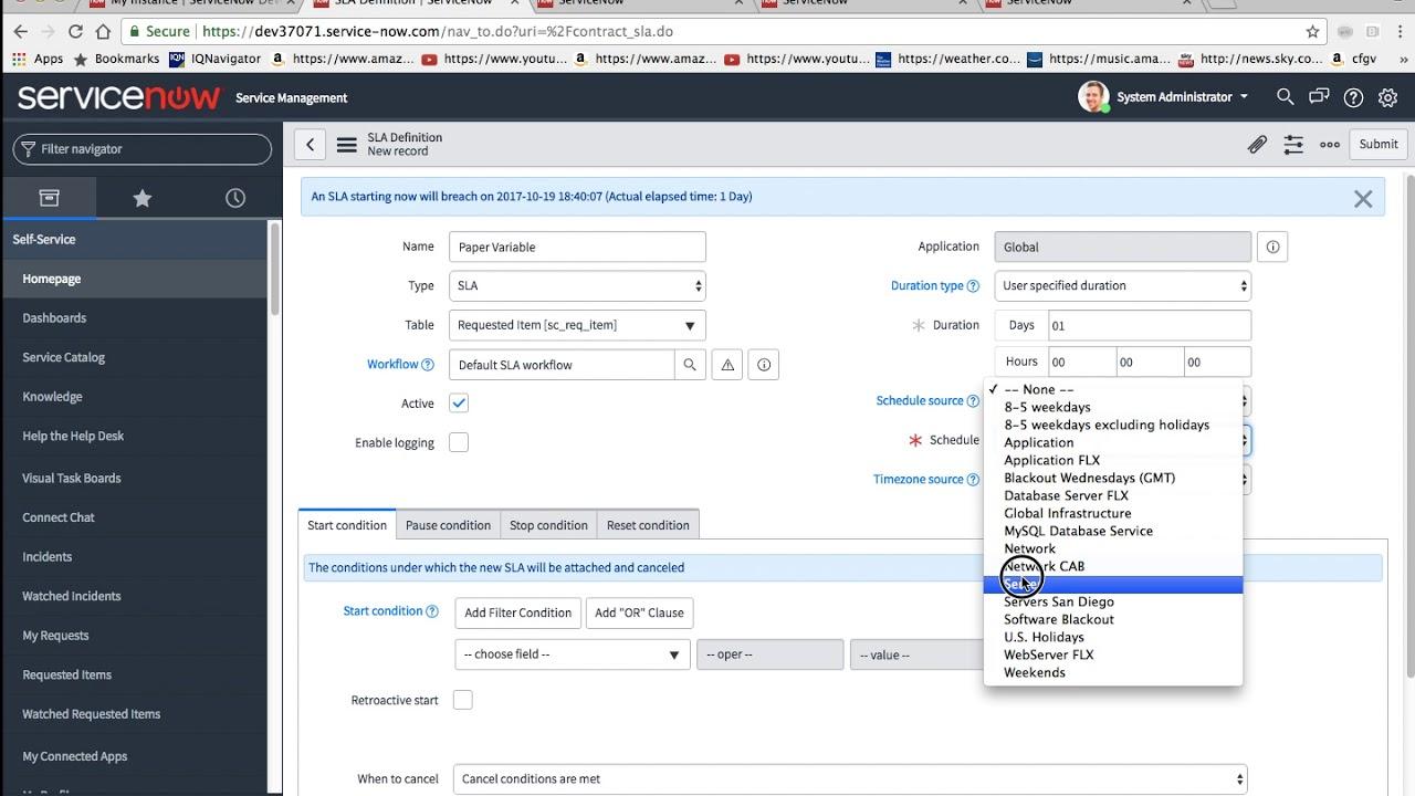 ServiceNow - Create an SLA Definition using a Service Catalog Variable