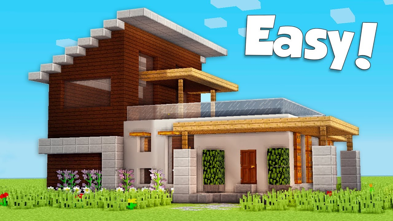 Minecraft How To Build A Small Easy Modern House Tutorial 22
