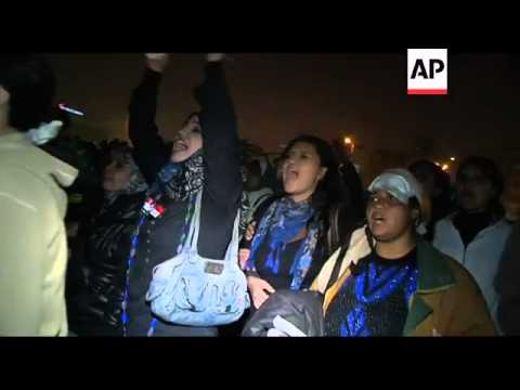 Thousands of Egyptian women protest abuse by military;night pix