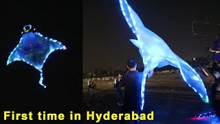 Remote control kite with led lights first time in hyderabad \\ International kite festival 2019
