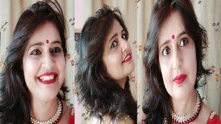 Red Sari Makeup/किसी भी फंक्शन के लिए खुद पार्लर जैसा मेकअप करे/Party makeup/red and golden eye make