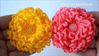 Цветок крючком. Хризантема. Flower crochet. Chrysanthemum DIY