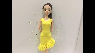#119 May váy liền bèo chéo cho búp bê