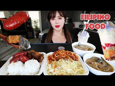 FILIPINO FOOD MUKBANG 먹방 (Chicken Adobo, Spaghetti, Longanisa, Pancit, Beef Kare Kare, Sinigang)